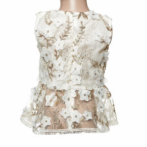 Sleeveless Sheer Lace Peplum Tank Top
