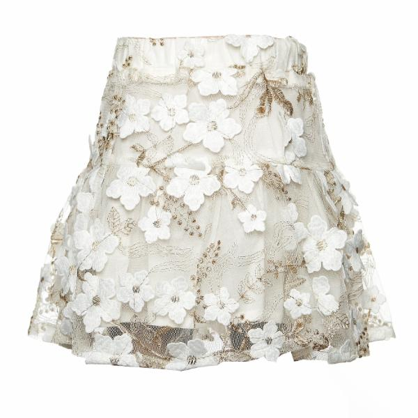 Elastic Waist Mid Thigh Sheer Flower Applique Skirt - Doe a Dear
