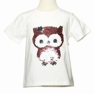 White S/S Tee w/ Baby Owl Sequinned Patch