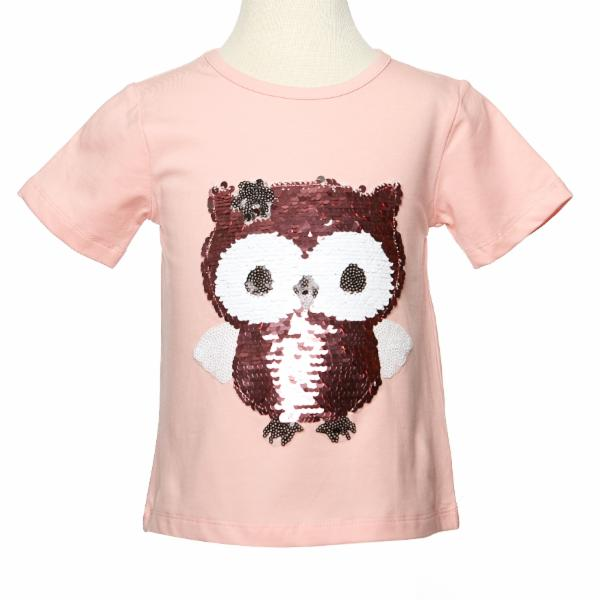 Pink S/S Tee w/ Baby Owl Sequinned Patch - Doe a Dear