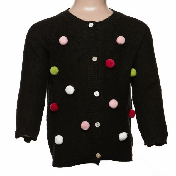 Allover Pom Pom Wooly Cardigan - Black