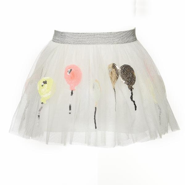 White Metallic Elastic Waist Skirt w/ Balloon Cutouts - Doe a Dear