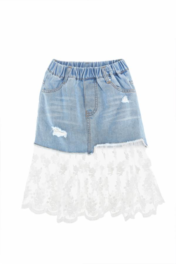 Denim Mini Skirt with Long Lace Extension