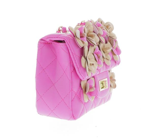 Quilted Bag with Floral Appliques & Cross Body Chain - Fuschia