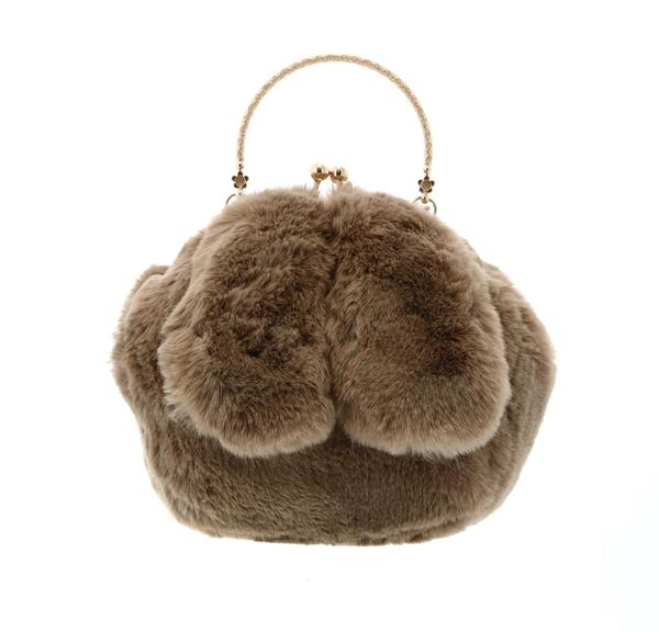 Furry Rabbit Ear Plush Purse - Brown