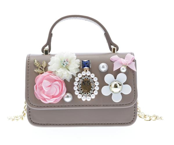 Top handle purse with flower appliques - Coffee