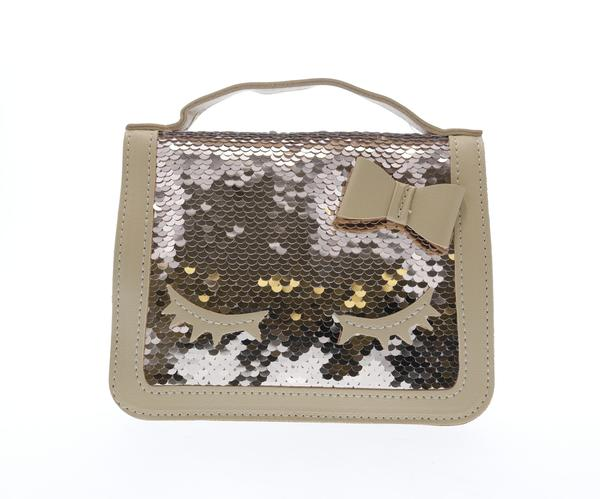 Sequined top handle purse with eyelashes - Gold