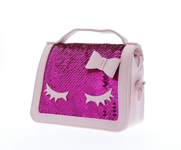 Sequined top handle purse with eyelashes - Fuschia