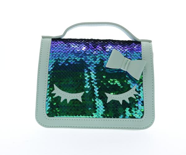Sequined top handle purse with eyelashes - Green