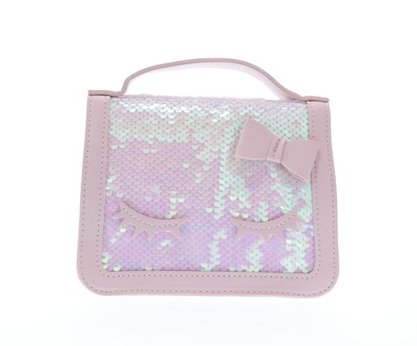 Sequined top handle purse with eyelashes - Pink