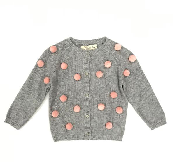 Allover Pom Poms Wooly Cardigan - Grey/Pink