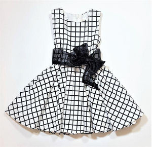 Sleeveless Window Pane Printed Dress with Tulle Tie