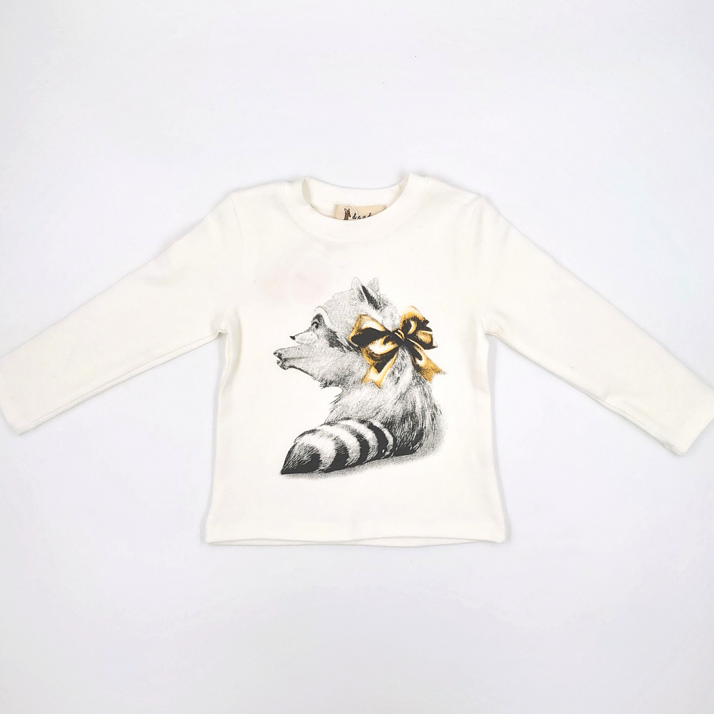 L/S Crew Raccoon Bow Graphic Tee - Doe a Dear