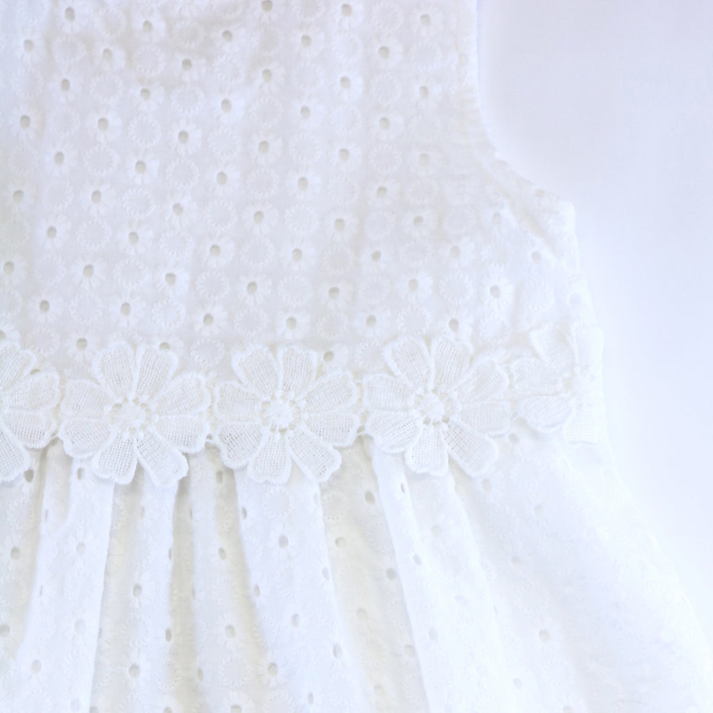 Floral Eyelet Fabric Dress - White