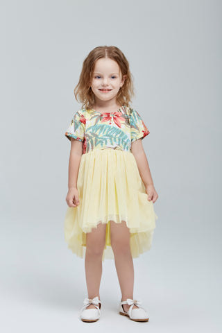 Tropical Print Tulle Skirt Dress in Yellow