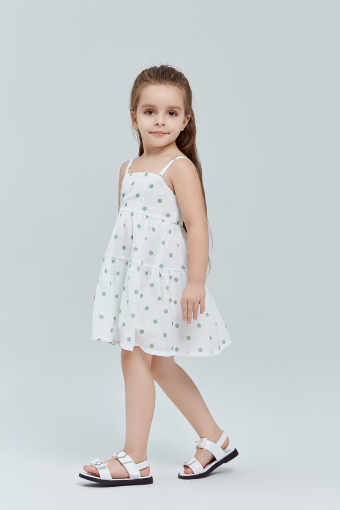 White/Green Sp Strap Polka Dot Sun dress