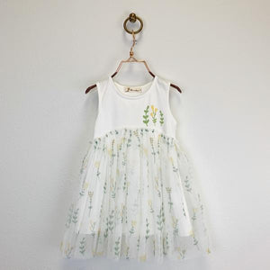 White Jersey Tulip Print Tulle Dress