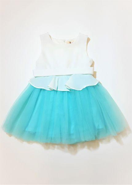 Sleeveless Contrast Dress with Tulle Skirt and Bow - Doe a Dear