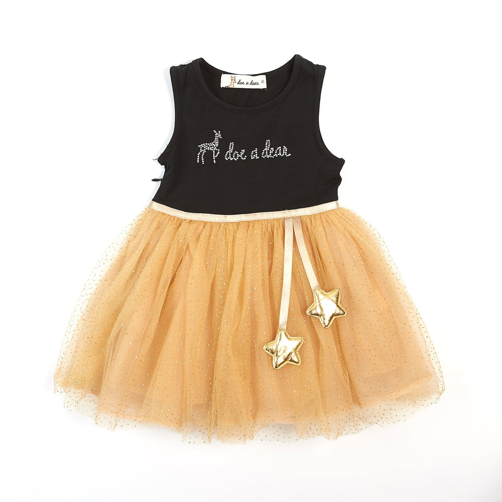 Sleeveless Jersey Dress with Logo & Hanging Star Details on Tulle Skirt - Doe a Dear