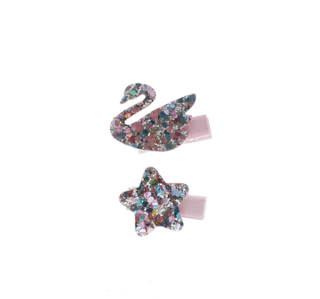 Aqua / Lilac Glittered Star & Swan Set Hair Clip - Doe a Dear