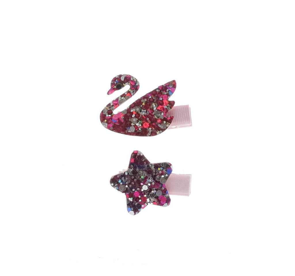 Fuchsia / Silver Glittered Star & Swan Set Hair Clip - Doe a Dear