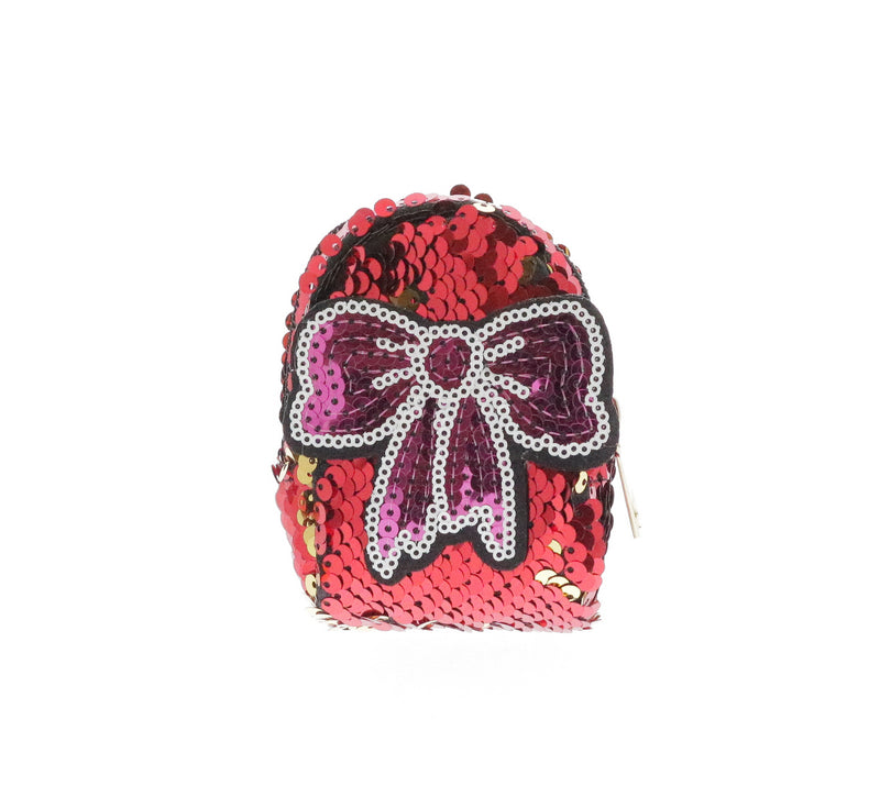 Sequinned Pink Bow Coin Purse Key Chain