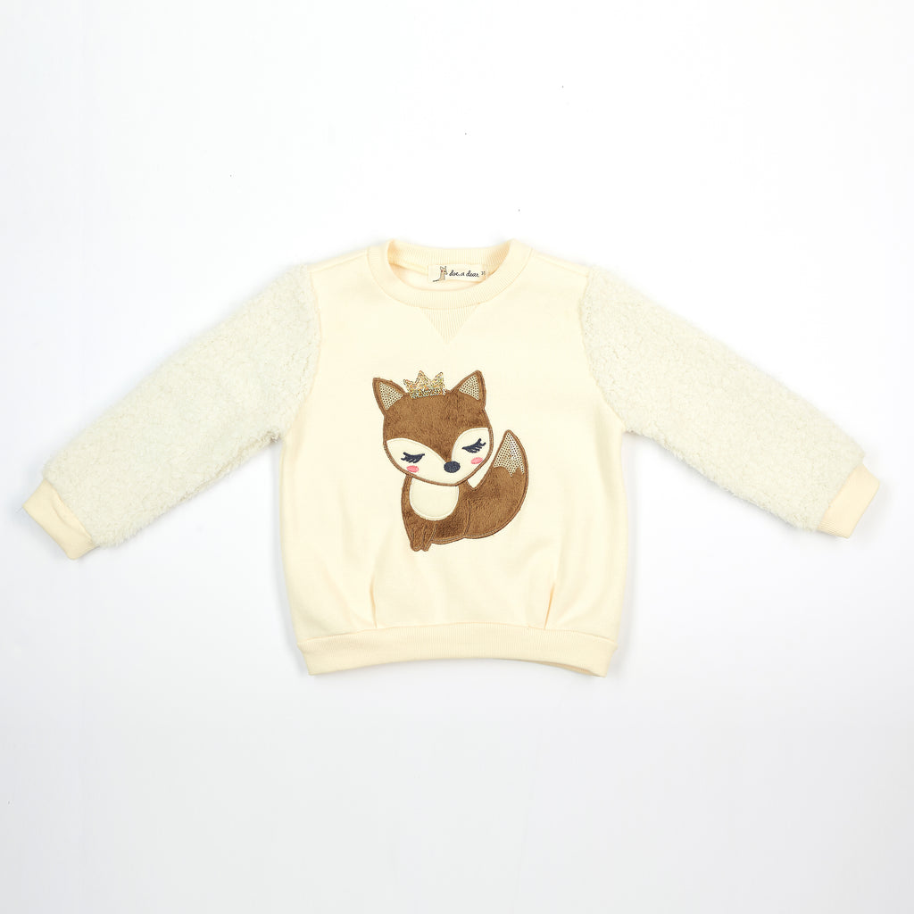 L/S Fur Crew Neck Sweater with Crowned Fox - Doe a Dear