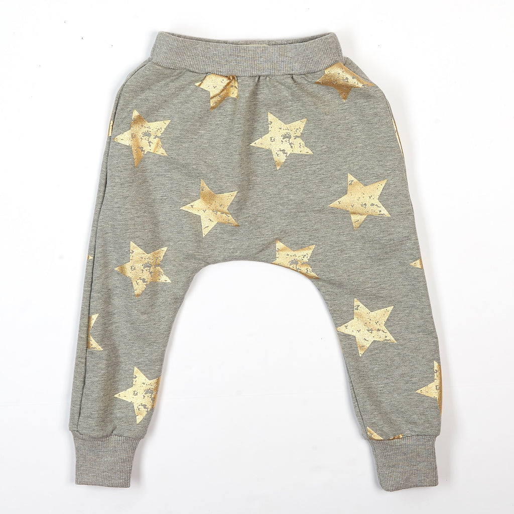 Elastic Waist Joggers With Gold Pigment Stars - Doe a Dear
