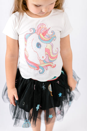 Scalloped Hem & Rainbow Hair Unicorn Patch Tee