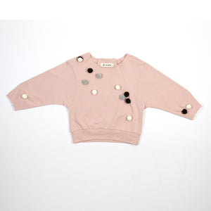 L/S Raw Edge Pom Pom Sweater