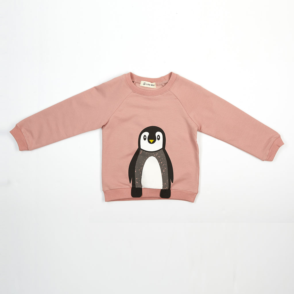 L/S Penguin Graphic Top w/ Feet Flaps - Doe a Dear