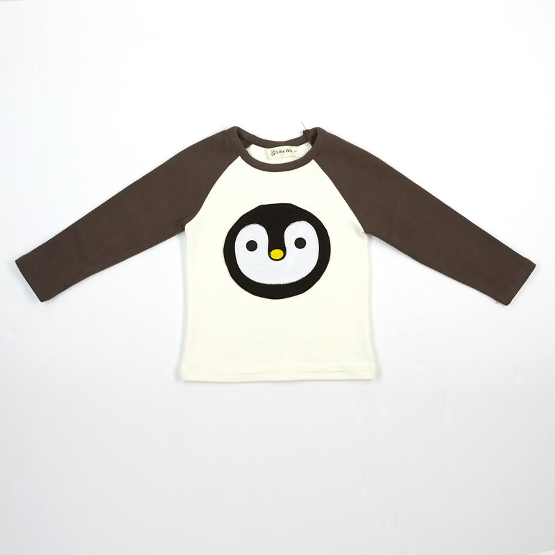 L/S Penguin Face Baseball Tee