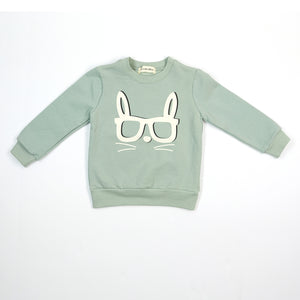 L/S Crew Neck Bunny Glasses Sweater