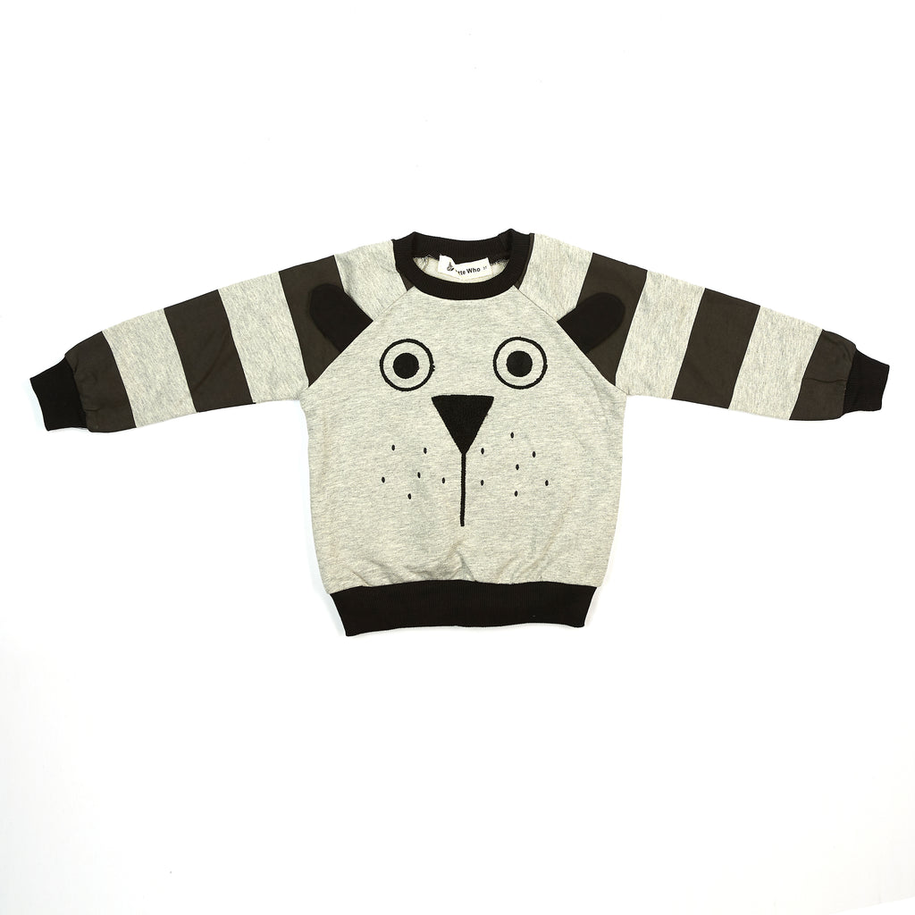 L/S Pup Face w/ Ear Flaps Crew Neck - Doe a Dear