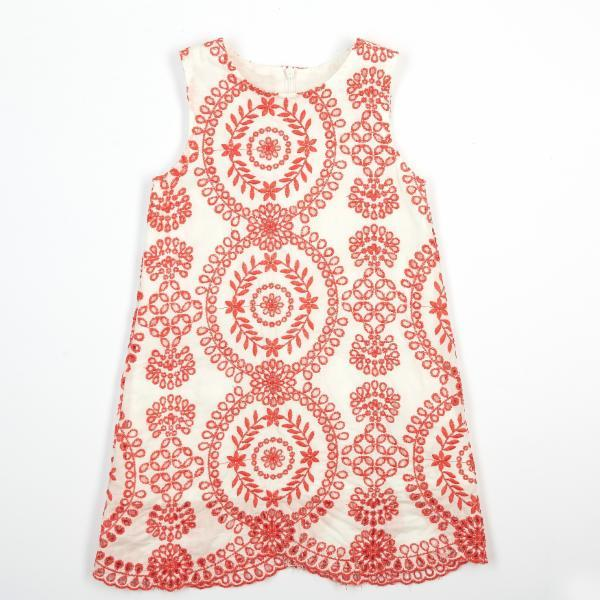 Sleeveless Red Embroidered Eyelet Dress