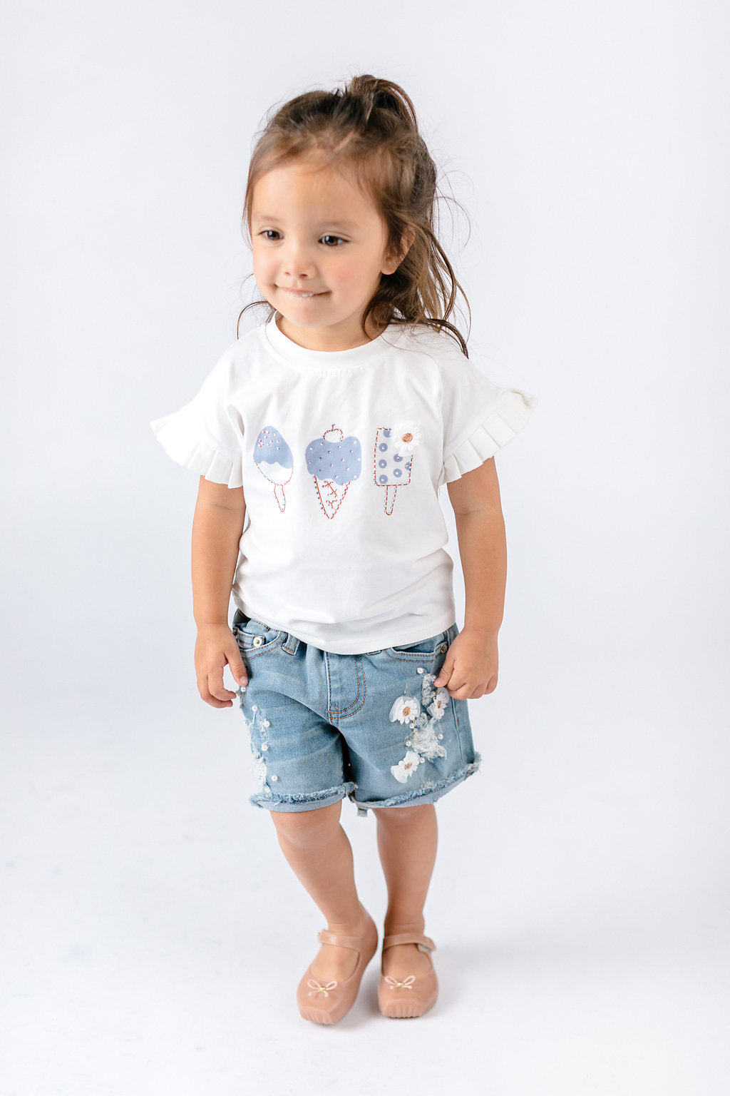 Blue Ruffle Sleeves 3 Ice Cream Tee