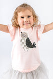 Pink Flutter Sleeves Rhinestone Bird Tee - Doe a Dear