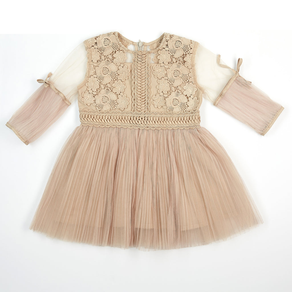 3/4 Sleeve Pleated Lace Dress
