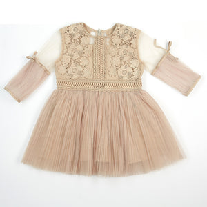 3/4 Slv Lace Peasant Dress w/Pleats