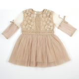 3/4 Sleeve Pleated Lace Dress - Doe a Dear