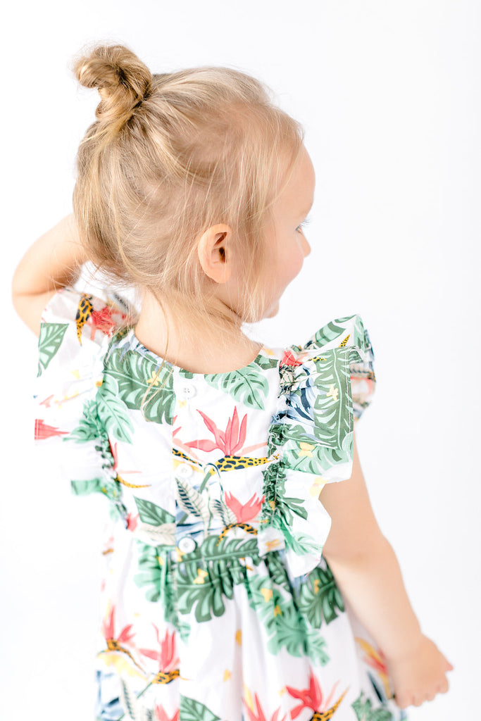 Tropical Flowers Print Milkmaid Dress - Doe a Dear