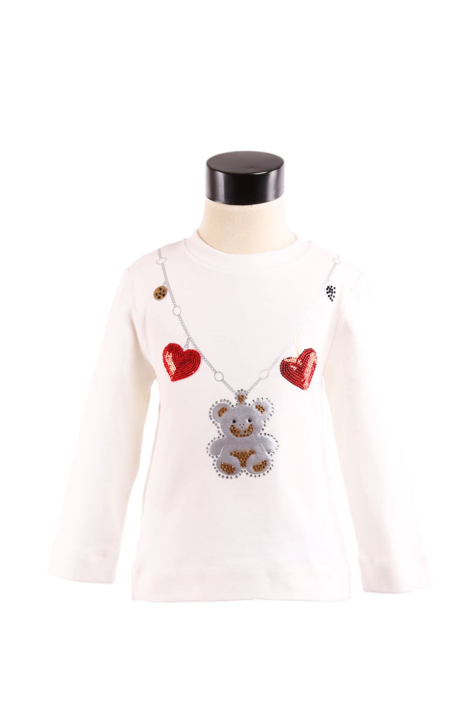 L/S Crew Nk Top w/ Bear & Heart Necklace Applique - Doe a Dear