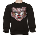 Black Long Sleeve Crew Neck Sweater w/ Bobcat Sequin Face - Doe a Dear
