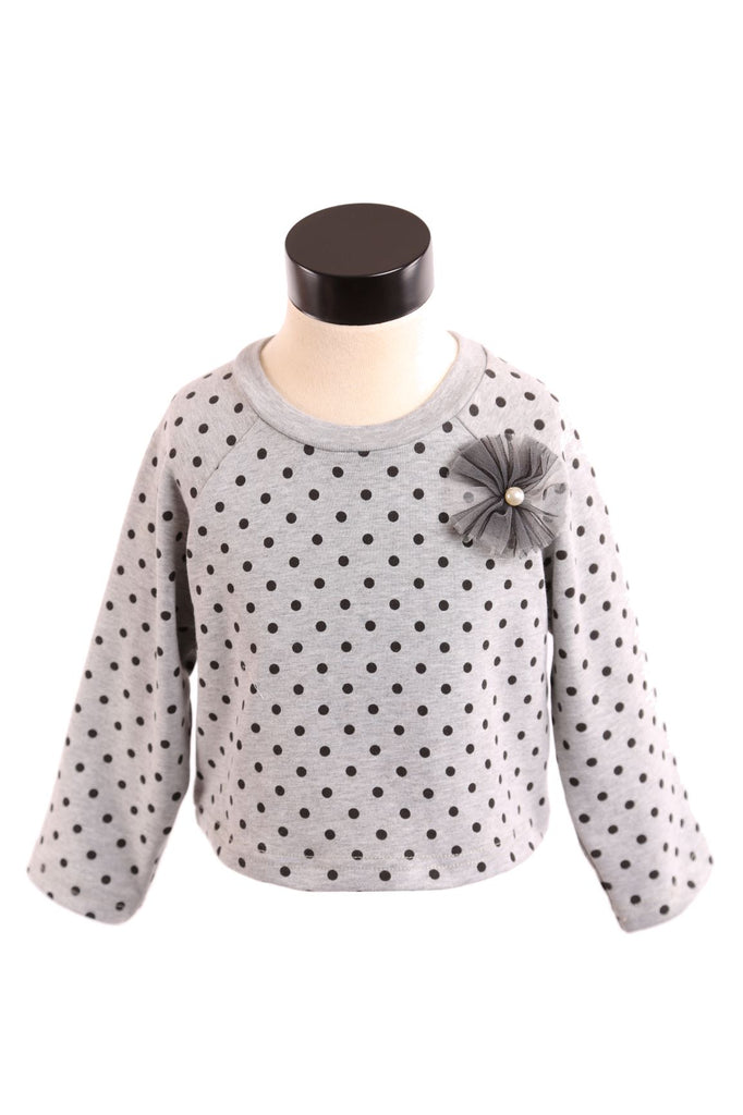 Grey Long Sleeve Crew Nk Polka Dot Top w/ Tulle Pinwheel - Doe a Dear