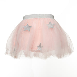 Pink Elastic Waist Star Applique Patch Tutu - Doe a Dear