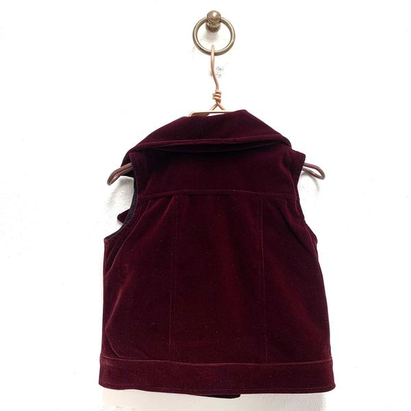 Burgundy Velvet Double Breasted Vest w/ Gold Buttons - Doe a Dear