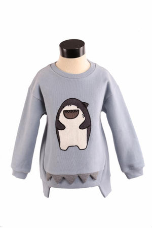 L/S Crew Sweater w/ Giggle Shark Patch