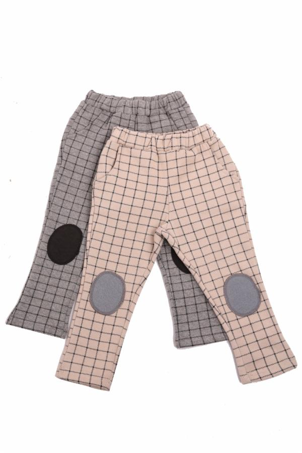Elastic Checked Pant w/ Knee Patch - Doe a Dear
