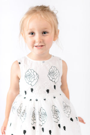 White Lace w/ Black Rose Printed Dress