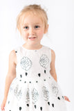 White Lace w/ Black Rose Printed Dress - Doe a Dear